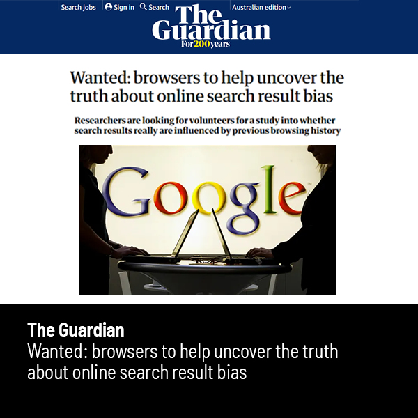 Link to article in The Guardian about the Australian Search Experience project
