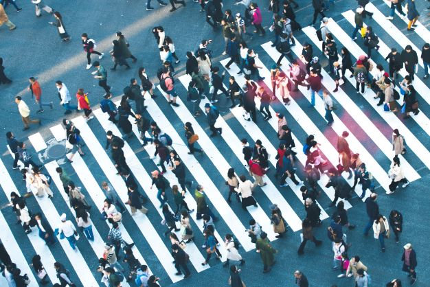 Busy street crossing aerial view