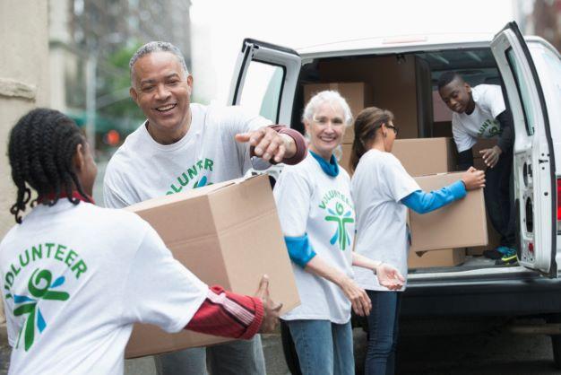 Volunteer charity workers